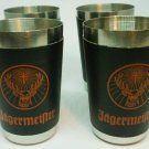 VINTAGE SHOT GLASS STAINLESS STEEL BLACK WRAP BUCK DEER STAG LOGO SET OF 4