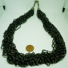 VINTAGE MULTI STRANDED BLACK BUGLE SEED BEADS EVENING WEAR NECKLACE