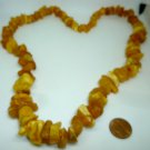 VINTAGE BALTIC MULTICOLOR YELLOW RAW AMBER CLUSTER BEADS NECKLACE