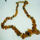 VINTAGE BALTIC MULTICOLOR BROWN POLISHED AMBER CLUSTER SMALL BEADS NECKLACE