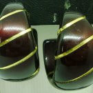 VINTAGE DARK RED & GOLD HALF MOON HOOPS STUD EARRINGS