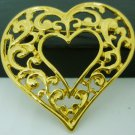 VINTAGE GOLD FILLED ORNATE LACED HEART SHAPED SCARF PIN BROOCH