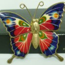 BEAUTIFUL VINTAGE ENAMEL BUTTERFLY BROOCH PIN PENDANT