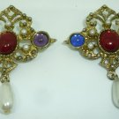 BEAUTIFUL VINTAGE ANTIQUE RHINESTONES & FAUX PEARLS BROOCH PIN SET OF 2