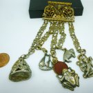 UNIQUE VINTAGE ANTIQUE LEO GLASS CREST CHATELAINE BRONZE PIN BROOCH CHARMS