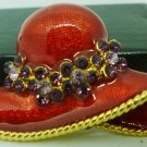 BEAUTIFUL ENAMEL ON BRASS RED HAT WITH RHINESTONES BROOCH PIN PENDANT
