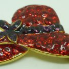 SMALL SPARKLING RED HAT BROOCH PIN PENDANT