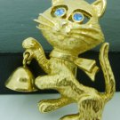 CHARMING BRASS CAT WITH GREEN RHINESTONE EYES & BELL BROOCH PIN