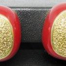 BEAUTIFUL VINTAGE ORENA PARIS RED & GOLD CLIP EARRINGS