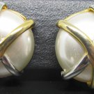 VINTAGE WHITE PEARL BUTTON ENCASED SILVER & GOLD METAL CLIP EARRINGS