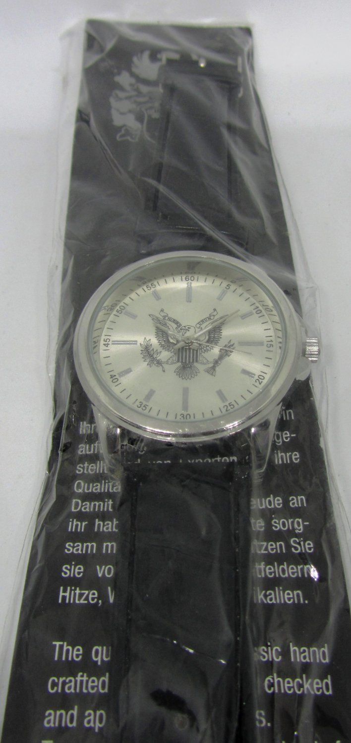 UNISEX COOL STAINLESS STEEL WHITE HOUSE LOGO WATCH LEATHER BAND