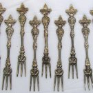 VINTAGE WOODWARD & LOTHROP WASHINGTON DC SILVERPLATED COCKTAIL FORK ITALY SET 13