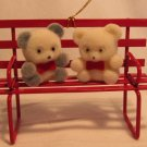 CHARMING CHRISTMAS VALENTINE ORNAMENT TWO TEDDY BEARS ON A BENCH