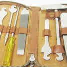 VINTAGE GERMANY MULTI TOOL KIT FOLDING POCKET SET LEATHER ZIPPERED CASE