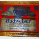 BUDWEISER BEER MIRROR BAR SIGN WOOD FRAME