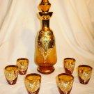 VINTAGE AMBER GLASS DECANTER & 6 SHOT CORDIAL FRANCE GOLD GILDED ENAMEL APPLIQUE