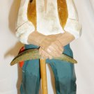 NORWEGIAN FOLKLORE COLLECTION HENNING NORWAY WOOD CARVED MINER W/AXE FIGURINE