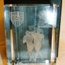 COMMEMORATIVE 3D LASER ETCHED GLASS US NATIONAL SOCCER TEAM 2010 PAPERWEIGHT NMB