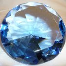 WASHINGTON DC SOUVENIR LASER ETCHED GLASS FACETED BLUE CABOCHON PAPERWEIGHT NMB