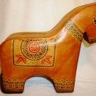 GENUINE LEATHER FIGURAL PIGGY COIN BANK HORSE TZEDDAKAH