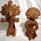 VINTAGE TERRACOTTA POTTERY MEXICO MAYA AZTEC INCA GOD FIGURINE STATUE SET OF 2