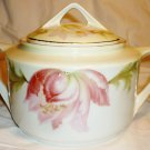 VINTAGE THREE CROWN CHINA GERMANY OVERSIZE SUGAR BOWL WITH LID TULIPS