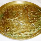 ANTIQUE BRONZE ROUND DISH PLATE PLATTER HUNTER IN A FOREST NUMBERED 1209