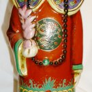 "VNTAGE ANTIQUE CERAMIC PORCELAIN ASIAN ORIENTAL FIGURINE MAN IN RED 14"" STATUE"