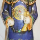 "VNTAGE ANTIQUE CERAMIC PORCELAIN ASIAN ORIENTAL FIGURINE MAN IN BLUE 14"" STATUE"
