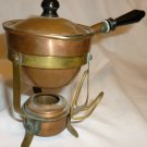 VINTAGE ANTIQUE MINIATURE COPPER CHAFING DISH STAND W/LID HOLDER DOLLHOUSE