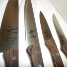 VANADIUM STAINLESS STEEL 4 KNIFE SET W/ROSEWOOD HANDLE & STORAGE HOOK RACK JAPAN