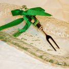 MUD PIE NEW GIFT HOLIDAY OVAL BUBBLE GLASS & FORK CONDIMENT SET CHRISTMAS
