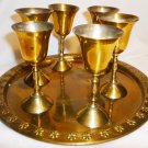 VINTAGE SOLID POLISHED BRASS 7 Pcs CORDIAL SET INDIA