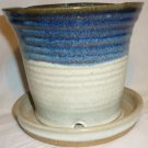 STUDIO POTTERY ALATORIA HAND THROWN STONEWARE POTTERY PLANTER & BUILD-IN SAUCER