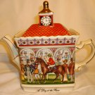 SADLER CLASSIC COLLECTION PORCELAIN TEAPOT ENGLAND CHAMPIONSHIP DAY AT THE RACES