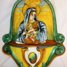 VINTAGE FRAVIOLI OGGETTI d'ARTE ORVIETO ITALY HAND PAINTED HOLY WATER FOUNTAIN FONT