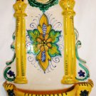 VINTAGE DERUTA XV.G. ITALY HAND PAINTED HOLY WATER FOUNTAIN