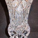 VINTAGE BOHEMIAN CUT CLEAR CRYSTAL FOOTED ELEGANT VASE