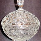VINTAGE BOHEMIAN CUT CRYSTAL PEDESTAL CANDY NUT BON BON LIDDED FOOTED DISH