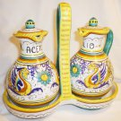VINTAGE HANDPAINTED ART POTTERY CERAMIC EL FRATE DERVTA OIL & VINEGAR CRUET SET