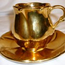 VINTAGE ROYAL WINTON GRIMWADES ENGLISH GOLDEN AGE GOLD ESPRESSO CUP & SAUCER