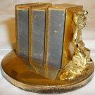 VINTAGE BRASS 3 SET MATCH TABLETOP HOLDER BOOKS CUPID BOOK ENDS TABLETOP