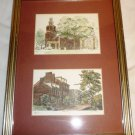OLD TOWN ALEXANDRIA SCENES FRAMED DOUBLE PRINT WALL HANGING BURGUNDY MAT