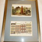 OLD TOWN ALEXANDRIA SCENES FRAMED DOUBLE PRINT WALL HANGING GREEN MAT
