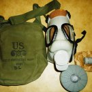 VINTAGE MILITARY FULL FACE US FIELD PROTECTIVE GAS MASK BAG FULL SET SL M9A1