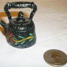 HANDPAINTED CAST IRON MINIATURE TEA KETTLE DOLLHOUSE