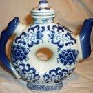 UNIQUE DOUGHNUT SHAPE BLUE & WHITE PORCELAIN DECORATIVE TEAPOT CHINA