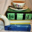 BEAUTIFUL TONY CARTER ENGLAND FIGURAL STACKED BOOK TEAPOT CUP AS YOU LIKE IT