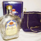COLLECTIBLE EMPTY BOTTLE CROWN ROYAL WHISKEY IN A BOX & DUST HOLDING BAG