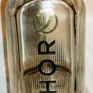COLLECTIBLE EMPTY RIBBED GLASS BOTTLE KHORTYTSA PLATINUM VODKA UKRAINE
